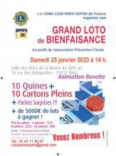 PARIS DOYEN DE FRANCE GRAND LOTO de BIENFAISANCE AU profit de l'association Prévention Cécité
